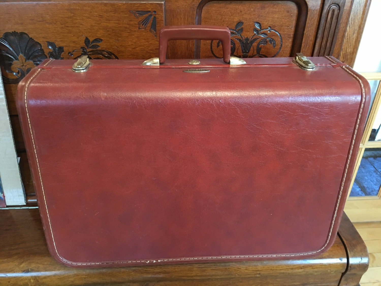 Mid Century Vintage Taperlite Faux Leather Suitcase Brown Luggage ...