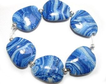 Handmade Glass Lampwork Beads, Blue Beach Stones, SRA Lampwork Beads, Flameonglass