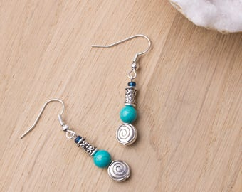 Turquoise earrings - Gemstone and silver spiral dangle earrings | Ethnic jewelry | Boho earrings | Spiral jewellery | Tribal | Blue stone