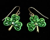 Shamrock Earrings Fern Green Swarovski Crystal  for St Patrick's Day