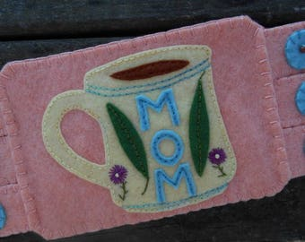 Mother's Day Coaster, Coffee Mug Rug, Coffee Cup, Spring Flowers, Mother's Day gift, Fiber art