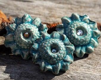 Handmade RAKU Flower Buttons Set of 3