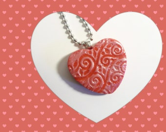 Valentine's Day Gift Red Heart Pendant, Optional Chain Necklace, Everyday Jewelry, Romantic Gift for Her, handmade polymer clay