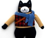 Black & White Kitty Boy wool doll plush outdoor hiker