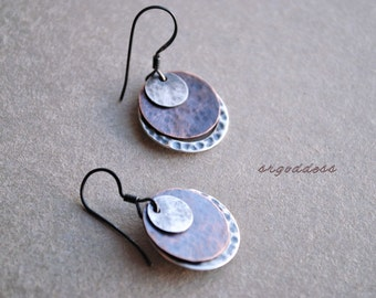 LAYERS hammered and oxidized sterling silver and copper earrings by srgoddess