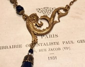 Mer Monstre Art Nouveau Sea Monster Necklace in Navy