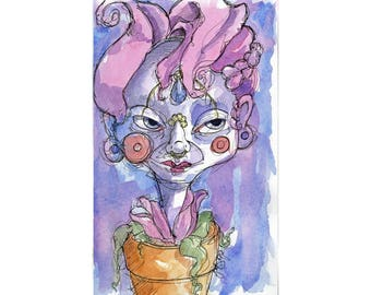 Original Watercolor Illustration - flower pot Art by Ela Steel - pink blue purple strange lowbrow art