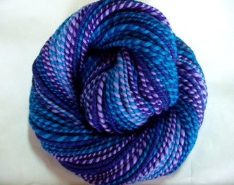 Handspun merino yarn, aran yarn, handspun yarn, worsted weight yarn, dolls hair, teal, blue, PURPLE DIP 3, 4oz/150yds, 114g/135m, 100% wool