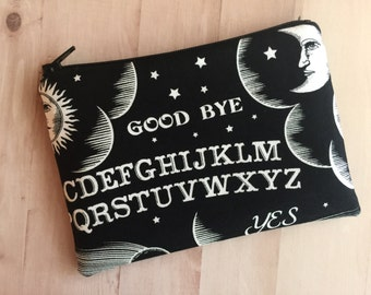 Ouija print zip up pouch - black zipper pouch - spirit board bag - black pouch - creepy bag - wicca bag - under 10 gift - ouija board bag