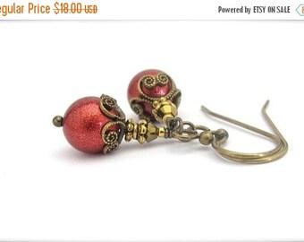 Russet Red Earrings, Petite Dangle Earrings, Antiqued Golden Brass Nickel Free, Victorian Dainty Boho Bohemian