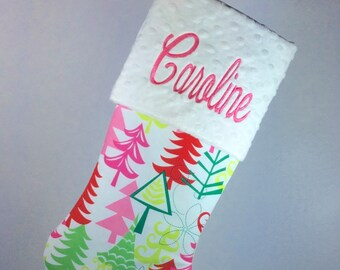 Funky and Festive Yule Trees Christmas Stocking, Personalized Christmas Stocking, Girls Christmas Stocking, Baby Christmas Stocking