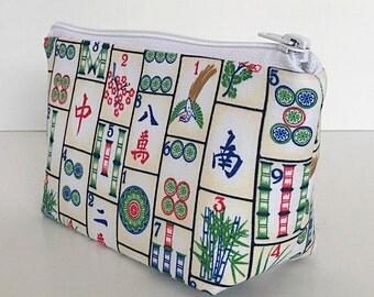 makeup bag, cosmetics bag, zipper pouch, zipper bag, Mah Jong, mahjong,  Games, gift for women