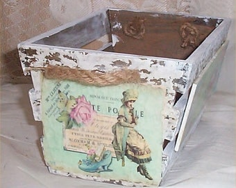 Chic Wood Crate Handcrafted Shabby Decor antiqued Victorian Decoration