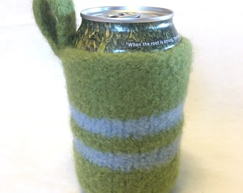 Felted Can Cozy in Green and Blue