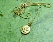 Peace - 14k Gold Filled Branch Charm and 14k Gold Filled Ball Chain Necklace