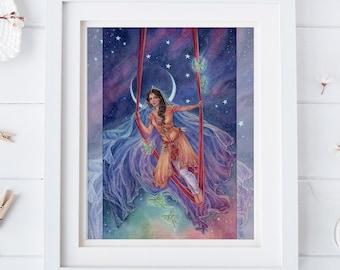 High Priestess tarot art, Acrobat, Circus, Night Sky, Moon and Stars, Fantasy art