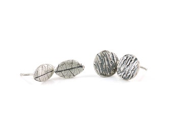Tree Bark and Leaf Imprint Post Earring Set in Sterling Silver - Made to Order