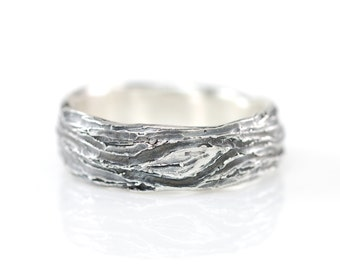 Tree Bark and Leaf Ring in Palladium Sterling Silver - size 11 3/4 - Ready to Ship