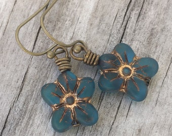 Beautifully BLUE FLOWER Earrings Perfectly BOHEMIAN with Antique Brass Earwires