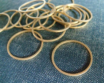 Simple Circles 20mm - Raw Brass - 18pcs - Raw Brass Circle, Brass Rings, Circle Connectors, Brass Hoops, Circle Charms
