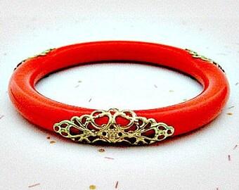 Plastic Orange Vintage Bangle Bracelet - Plastic Bangle Bracelet - Summer Jewelry