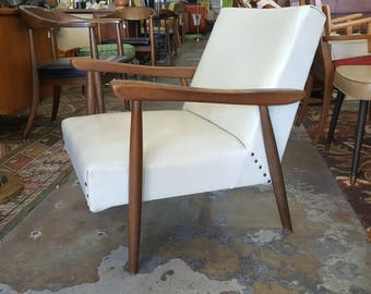 Mid Century Modern White Pleather Wooden Armchair