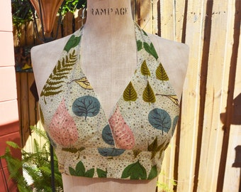 Bring it back Vintage material made into modern Halter Top - One size fits most