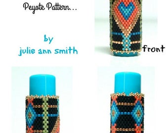 Julie Ann Smith Designs PRECIOUS AND FEW Flat Odd Count Peyote Lip Balm Cover Pattern