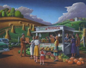 Fresh Produce Original Oil Painting, Roadside Produce Stand, Vegetables Fruit For Sale, Folk Art Farm Landscape, Appalachian Americana Art