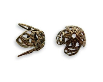 Vintaj Filigree Bead Cap Natural Brass Pendant Charm Bead 12mm 4 pcs 2 pair