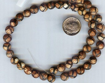 8mm Distressed or Aged Tibetan Natural Old Agate Round Beads 12pcs