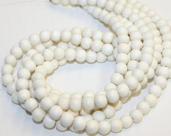 "6mm High Quality Whitewood Round Wood Beads 16"" strand"