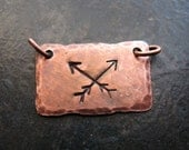 Hammered Antiqued Copper Crossed Arrow Necklace Plaque - 27 by 14mm