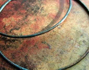 2 inch Aqua Shimmer Chestnut Copper Circle Hoops - 1 pair - Patina Artisan Earring Findings