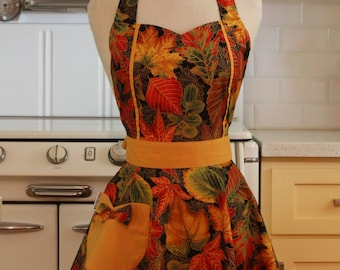 Retro Apron Leaves on Black - MAGGIE