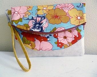Foldover Clutch, Wristlet Handbag, Woodland Floral