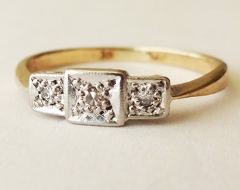 Vintage Engagement Ring, Art Deco Diamond Ring, 9k Gold Diamond Trilogy Ring Size US 5.5