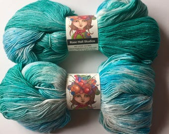 Hand Dyed, Pale Sky Blue and Turquoise Sock Yarn, Knitting, Crochet, Indie Dyer, Superwash Fingering Weight 462 Yards