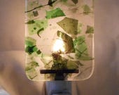 Handmade Night Light, Green and Clear Fused Glass, Home & Living, Room Décor, Home Décor