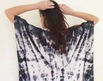 Hand Dyed Indigo Kaftan in Moonstone, Black and White,  Rayon Gauze, Anna Joyce, Portland, OR,