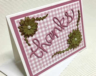 Thank you card handmade stamped gingham pink green succulent embellished flower stationery