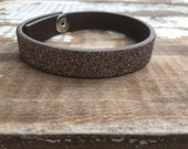 Custom Leather Cuff-Create Your Own-Pink Sparkle Leather-Word Cuff