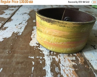 40% OFF- Custom Leather Cuff-Create Your Own-Word Cuff-Hand Painted-Graffiti Design