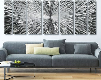 Extra Large Modern Metal Wall Art In Silver, Contemporary Metal Wall Sculpture For The Modern Home, Office Decor - Vortex XL by Jon Allen