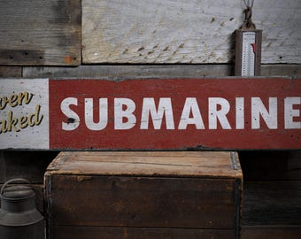Submarine Sandwich, Sandwich Sign, Oven Baked Subs, Sub Sandwich Sign, Oven Baked Subs, Sandwich - Rustic Hand Made Wooden Sign ENS1000920