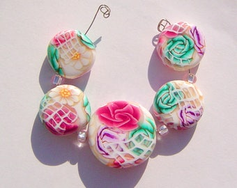 Floral Window  Artisan Polymer Clay Bead Set with Focal and 4 Beads