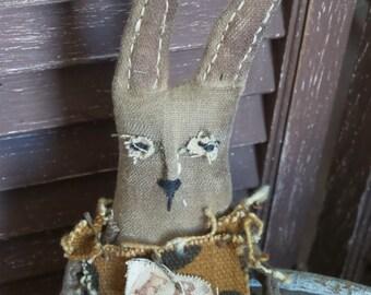 MUSTARD SEED ORIGINALS, Easter, Bunny, Rabbit, Spring, Garden, Very Primitive, Hafair, TeamHaHa, Carrot, Doll by Sharon Stevens