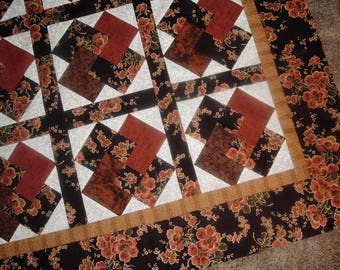 Quilt Top to Finish Card Tricks Beautiful Asian Look Floral  50 x 50 inches