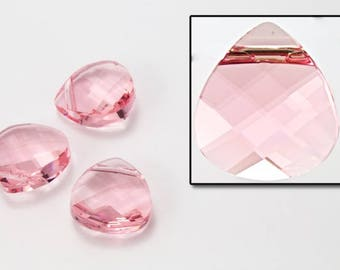 Swarovski 6012 10mm x 11mm Light Rose Flat Briolette Pendant