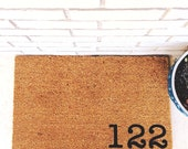 YOUR Custom Address - Natural CoCo Coir Fiber Modern Tagged Outdoor Welcome Mat Custom doormat